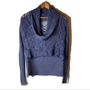 FREE PEOPLE BLUE CROCHET CROP TOP COWL NECK SMALL